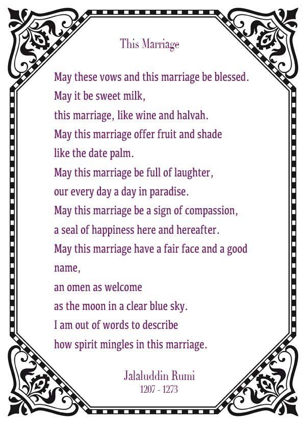 Wedding Reading: This Marriage - Jalaluddin Rumi - Charlottesville Wedding Blog