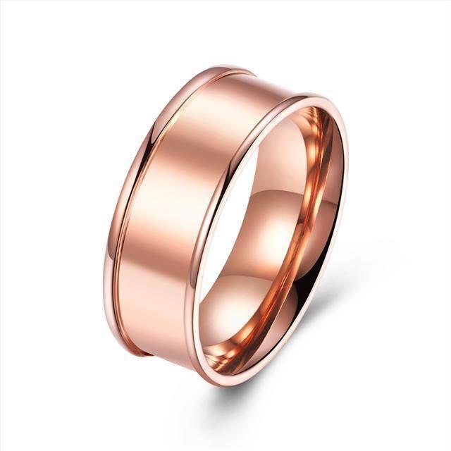Titanium Steel 316L Damen Ring+Rose Gold+Gr 56 (17,8 mm Ø)+5,5 g+Neu