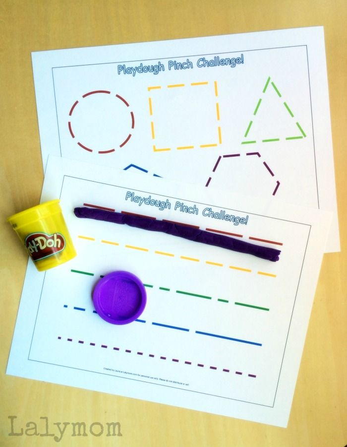 Free Printable Fine Motor Activities for Pinch Strength - Play Dough Pinch Challenge for toddlers and preschoolers on Lalymom.com #OT #KBN #playmatters