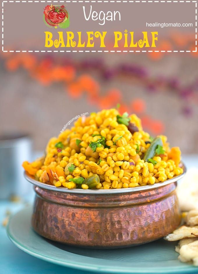 Quick, Easy One-pot Vegan Barley Pilaf Recipe made with Pearl Barley, Green Beans, Chickpeas and Carrots. It's a quick, healthy side dish with a little spice. This recipe has me look at barley in a whole new light. Its so easy to work with and can be flavored so easily. Barley Nutrition Value makes it a healthy recipe #pilaf #veganfood #barleyrecipes #comfortfood #sidedish #healthy #recipes