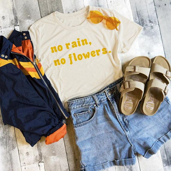No Rain No Flowers Crop Womens Tee Hipster Shirt Retro Camping Top Vintage Vibes Cute Tumblr Hiking Top Boho Outdoor Vibes Hipster Outfits Vintage Outfits Aesthetic Clothes