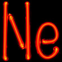 """Neon gas-discharge lamps forming the symbol for neon """"Ne"""" #BoulderInn"""