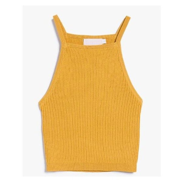 Stelen Gene Top in Mustard ❤ liked on Polyvore featuring tops, ribbed top, mustard crop top, yellow crop top, yellow top and cut-out crop tops