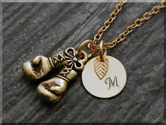 Gold Boxing Gloves Charm Necklace Initial by charmingpixiejewelry