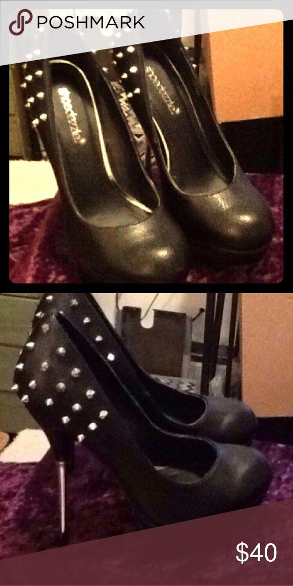 Leather Stilettos Shoe dazzle silver Studded black leather stilettos Shoe Dazzle Shoes Heels