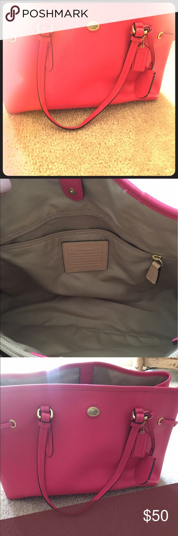Authentic pink coach purse Beautiful, bright coach purse perfect for spring and summer! Coach Bags Shoulder Bags