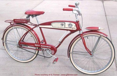 The Huffy Radio Bike - Manufactured in 1955 and 1956 by the Huffman Manufacturing Co. of Dayton Ohio. http://atomic-flash.tumblr.com/