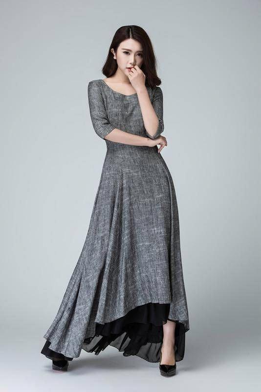 b137d7c43c Slip extender high low dress linen dress maxi dress grey   summerdressesforweddings