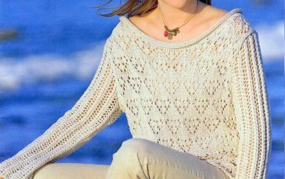 Crea un maglione beige punto ajour con i lavori a maglia - Un lavoro a maglia come questo è difficile da trovare, per la sua particolarità ma al tempo stesso con schemi semplici da utilizzare, per riprodurre una copia fedele al maglione che vedete in fotogafia.