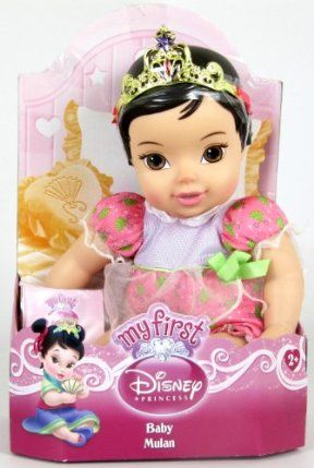 "Disney Princess Baby Doll - Mulan by Jakks. $26.73. 12"" Princess Baby Doll. Tiara included. Onesie in the her signature color. Add to your little girl's Princess collection. Cuddly soft body. Your favorite Disney Princesses as cute cuddly babies! Choose from Mulan, Aurora, Cinderella, Snow White, Belle, Ariel and the newest Princess, Tiana. Each 12 inch soft bodied Princess is dressed in an adorable onesie in her signature color and a tiara."