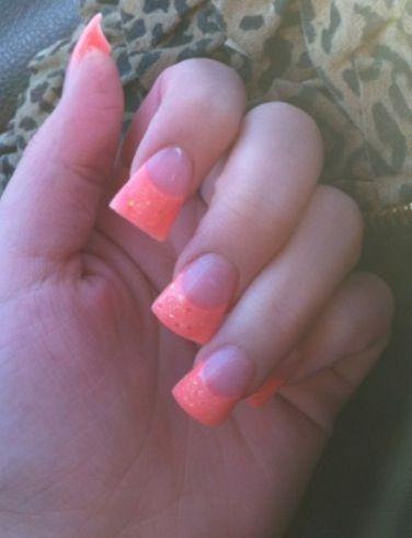 Orange flared acrylic nails