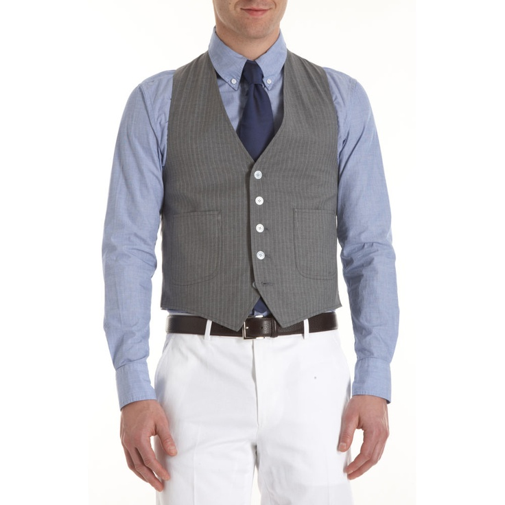 Band of outsiders five button vest blue button down for White shirt brown buttons