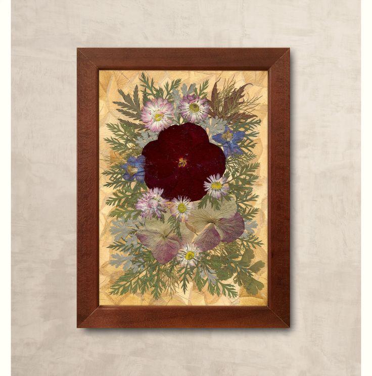 Burgundy rose dried flowers art framed wall decor