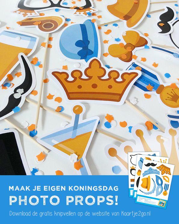 Maak je eigen Koningsdag photo props! Download de gratis knipvellen via https://www.kaartje2go.nl/koningsdag-2015#Koningsdag #DIY #fotofun #photoprops #freebie #printable #papercraft #knutselen #Kaartje2go #kids #knutseltip