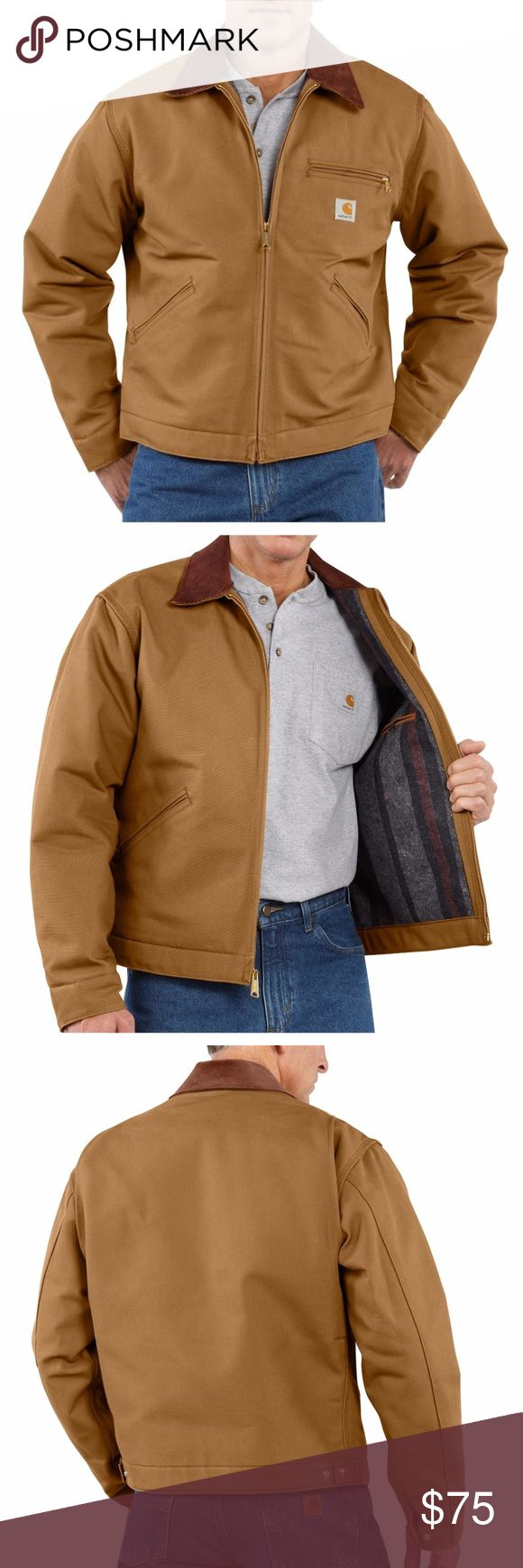 Carharrt Brown Duck Detroit Blanket Lined Jacket One of their most popular styles, this classic Carhartt duck jacket is the perfect fit for the working man. This jacket features a corduroy-trimmed collar with snaps for optional hood, blanket lining in body, and quilted-nylon lining in sleeves. This is a brand new coat, but the tags have fallen off. The size sticker tag is intact on the sleeve, so you can see this has never been worn. #52WSDW67 Carhartt Jackets & Coats