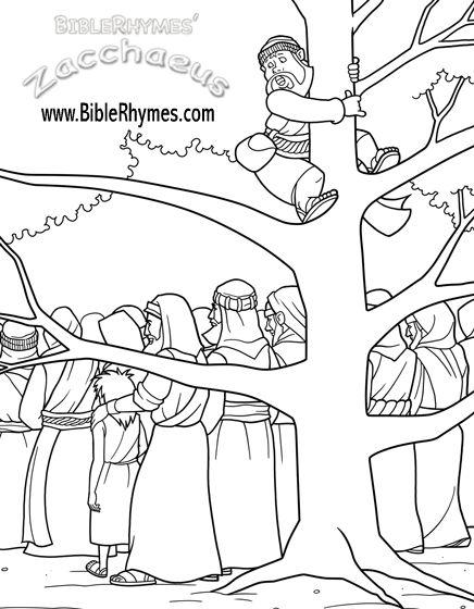 this picture of zacchaeus climbing a tree from the biblerhymes zacchaeus bible story coloring book is in black and white for people to print and color - Jesus Zacchaeus Coloring Page