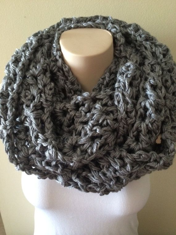 iScarf  Long Crocheted Infinity Scarf  Grey by iHooked on Etsy, $30.00