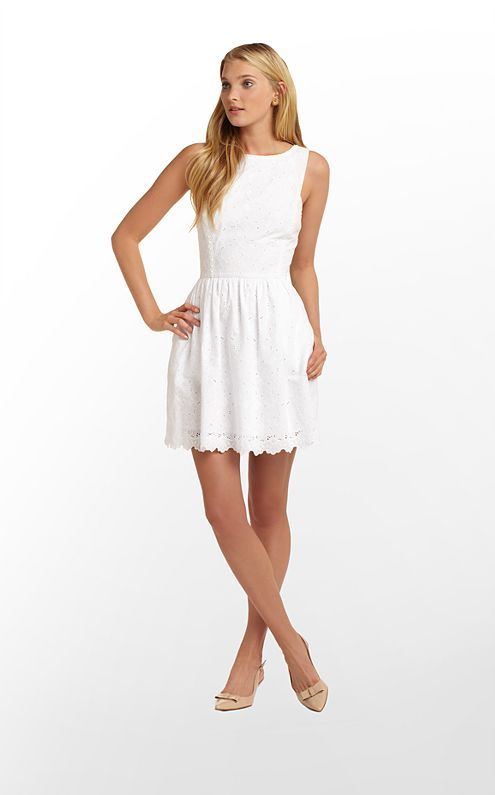 Sandrine Dress in Resort White Dupre Eyelet $228 (w/o 2/16/13) #lillypulitzer #fashion #style