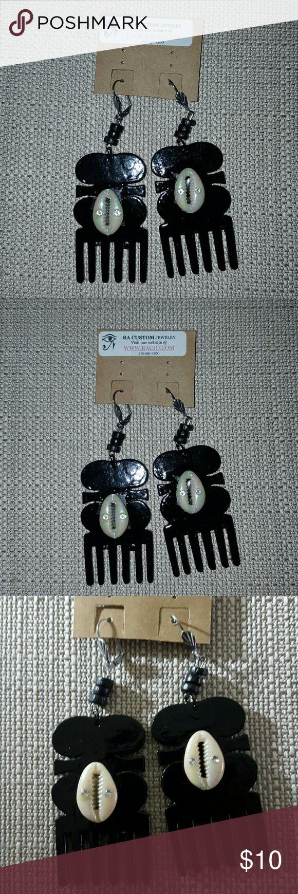 Afro pick comb handpainted Black Earrings Afro pick comb handpainted Black black Earrings with Silver Stainlees steel lever backs ear wires hypoallergenic. Jewelry Earrings