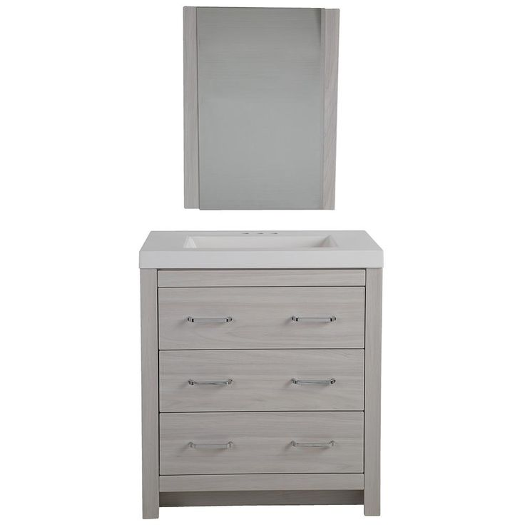 Glacier Bay Woodbrook 30.5 in. W x 18.8 in. D Vanity in Elm Sky with Cultured Marble Vanity Top in White with White Basin and Mirror