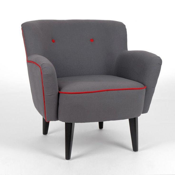 fauteuil rev tement coton gris passepoil rouge par amadeus au salon pinterest rouge et ps. Black Bedroom Furniture Sets. Home Design Ideas