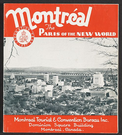 The cover of tourist pamphlet of Montreal from 1937, entitled Montréal- the Paris of the New World revealing Art Deco inspired buildings from an aerial view.