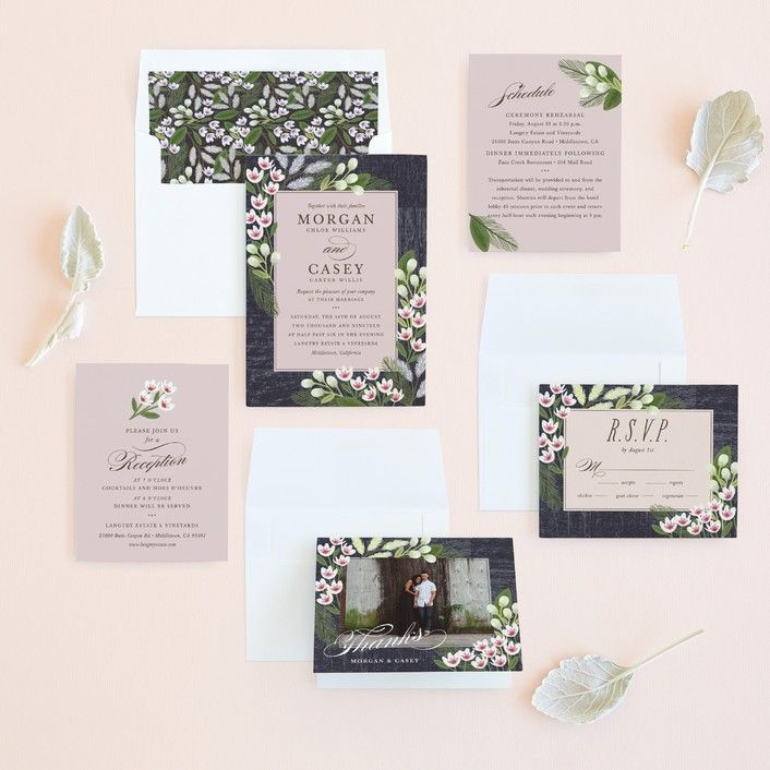lotus flower wedding invitations%0A   Rustic Ranch    Rustic  Floral  u     Botanical Wedding Invitations in  Champagne by Griffinbell