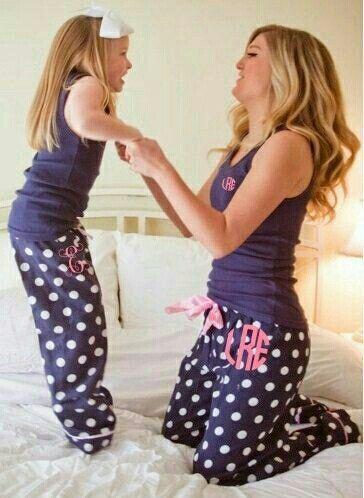 Monogram mommy and me pajamas