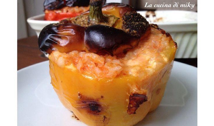Peperoni ripieni di riso e mozzarella al forno senza glutine BlogGz la cucina di miky
