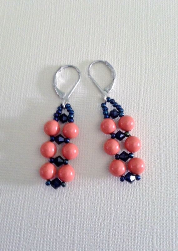 Swarovski Coral Crystal pearl earrings by SLeeKBeadedJewelry