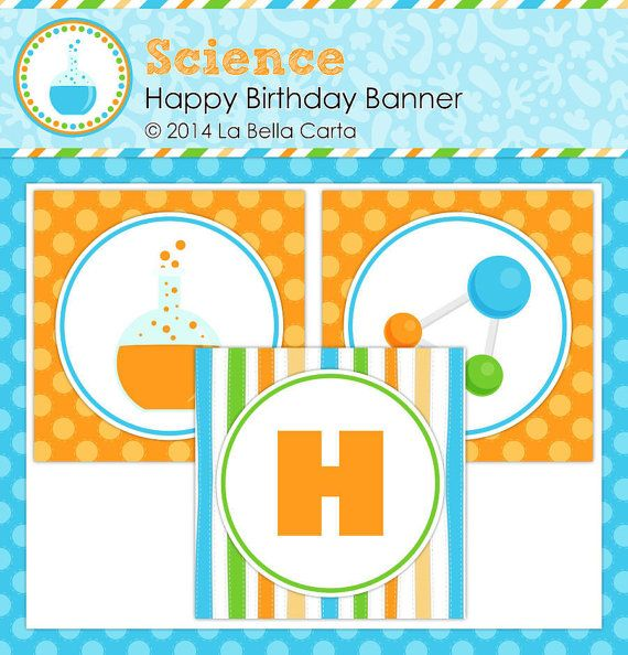 Science Printable Happy Birthday Banner, Science Birthday