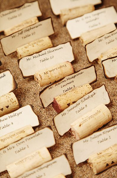 Beach theme wedding - corks place cards and sand - AnnasWeddings.com | NYC Wedding Photographer