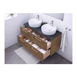 IKEA - GODMORGON/ALDERN / TÖRNVIKEN, Kast voor wastafel 45 v bovenblad, zwart steenpatroon, zwartbruin, , Gratis 10 jaar garantie. Raadpleeg onze folder voor de garantievoorwaarden.Werkbladen van laminaat zijn zeer slijtvast en onderhoudsvriendelijk. Als je er wat zorg aan besteedt, blijven ze er jarenlang als nieuw uitzien.Je kan de wastafel plaatsen waar je wilt: in het midden, rechts of links.Soepel lopende en zachtsluitende lades met blokkeerstuk.Je kan de grootte van het vak in de lade…