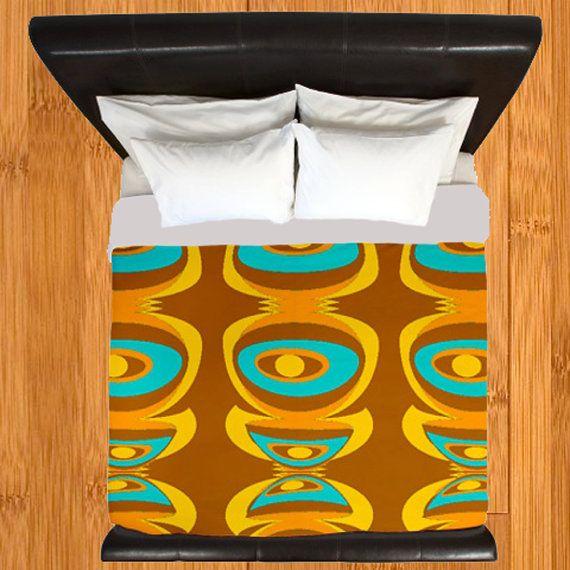 Modern Duvet Cover,Retro Duvet Cover,Geometric Duvet Cover,Mid Century Mod Blue Brown Duvet Cover Duvet Cover, Mid Century Bedding