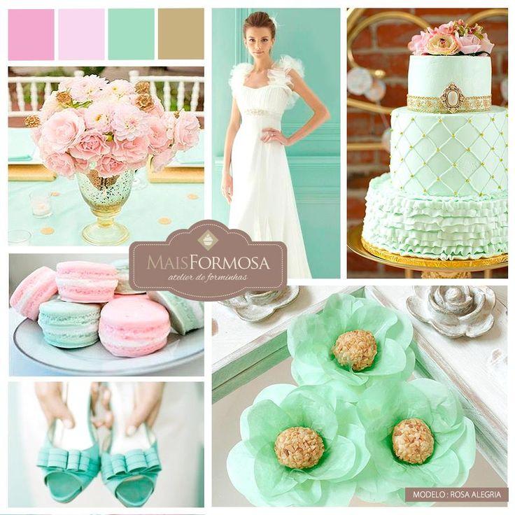 Sugestão de Cores : Decoração CASAMENTOS (verde menta, rosa e dourado) LOJA VIRTUAL - http://www.elo7.com.br/rosa-alegria-verde-ra017-50-un/dp/4621E1
