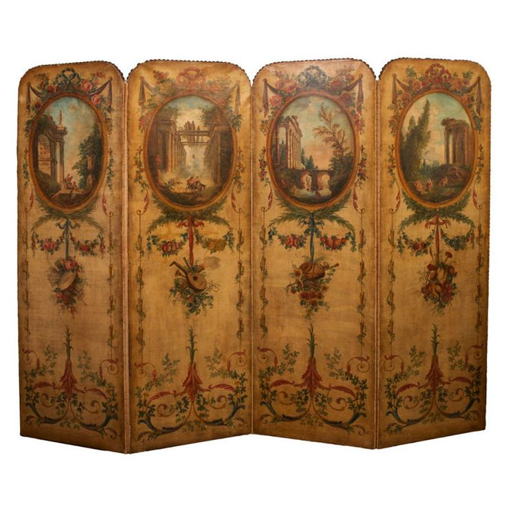 Louis XVI Style Four Panel Painted Canvas Floor Screen