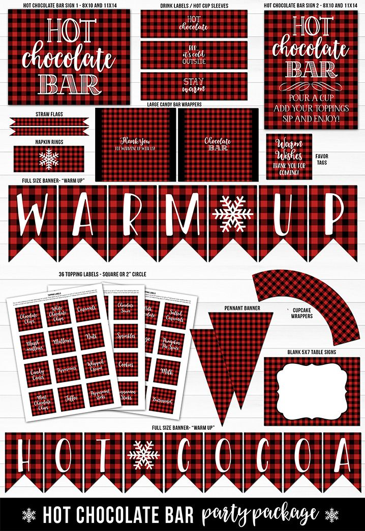 Printable Plaid Hot Chocolate Bar Lumberjack | Party Decorations | Hot Cocoa Party | Signs | Topping Labels | Drink Labels or Sleeves | Winter Party | Christmas Event | Birthday Decor | Baby Shower Decor | Banners | Brr It's Cold Outside | Warm Up