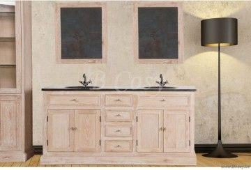 ll-bath-032u-Bath dubbele eiken Badkamerkast arduinen blad met witte ceramische onderbouw waskommen ZONDER bovenbouw spiegels in White Wash eik Led Verlichting Landelijke badkamer-Landelijk badkamermeubel BATH032U