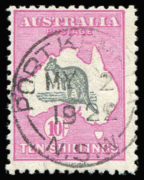AUSTRALIA - Kangaroos - Third Watermark 10/- Grey & Deep Aniline Pink Watermark inverted BW #48Ba (SG #43aw) very fine used with 'PORT KEMBLA/MY2/1922' datestamp, Cat $3,500 (SG Cat £1,600), retail is higher.