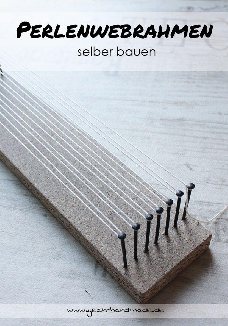 DIY Perlenwebrahmen aus Holzresten und Nägeln selber bauen. Mit einem Perlenwebrahmen, kann man kreative Accessoires wie Schlüsselanhänger und Schmuck selber machen, auch perfekt als Geschenkidee geeignet. Anleitung auf Yeah Handmade.