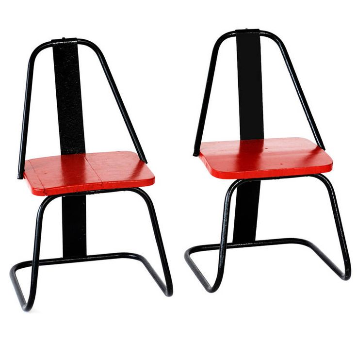Red and Black Iron Children's Chairs, 1950s | From a unique collection of antique and modern children's furniture at https://www.1stdibs.com/furniture/more-furniture-collectibles/childrens-furniture/