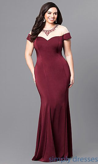 Plus-Size Long Prom Dress with Illusion Neckline