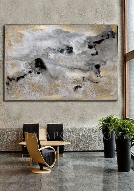 Art Print on Canvas, Rectangle Option of Original SOLD Abstract Painting: Milky Way by Fine Artist Julia Apostolova Watercolour Print, Gold leaf print The Square Print Option you can found here: https://www.etsy.com/listing/250785181 ♥ It printed in Professional Print Lab on 100% cotton canvas.  ♥ SIGNED: Yes, signed by the artist(me) on the back. All prints are signed and dated by the artist Julia Apostolova. Read about me here: https://www.etsy.com/shop&#x...