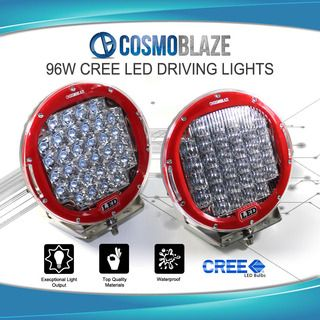 "Cosmoblaze 2x 9"" 96W CREE LED DRIVING LIGHTS 24V/12V FLOOD SPOT COMBO Light WORK"