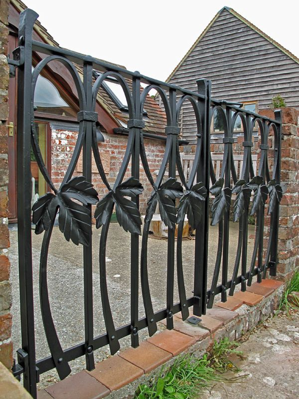 A Pair Of Blacksmith Forged Contemporary Hop Leaf Gates For An Oast House  Near Tunbridge Wells, Kent. These Wrought Iron Gates Use Traditional  Techniques.