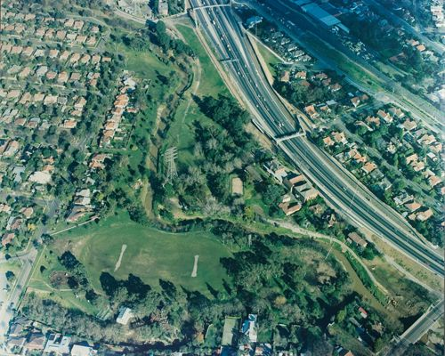 MP 13701. Aerial photo of Gardiners Creek and the South Eastern freeway at Glenburn, c.1980s