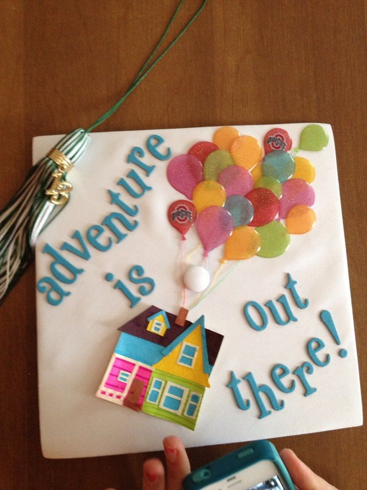 """My Up themed """"Adventure is out there!"""" graduation cap"""