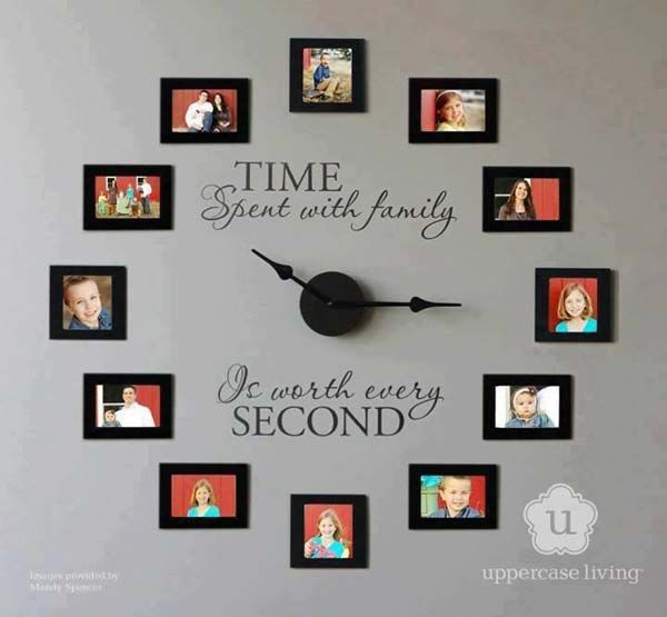 "DIY Family clock. This could be ""too cute"" for some, but I think it is really clever (and very easy). What a lovely piece to have in your own home, or give as a gift to a favorite relative."