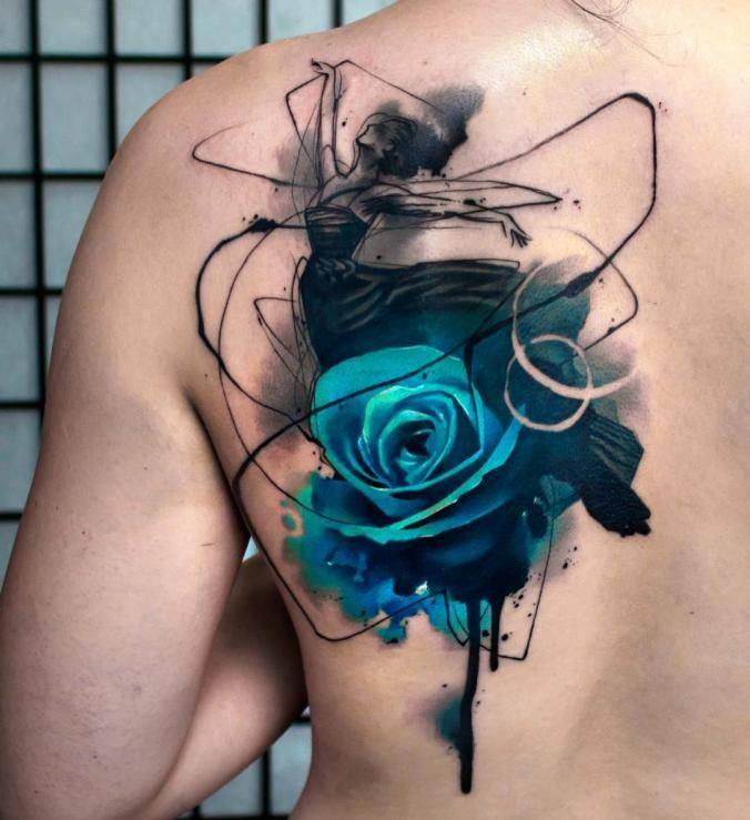 Dancer  and rose back tattoo