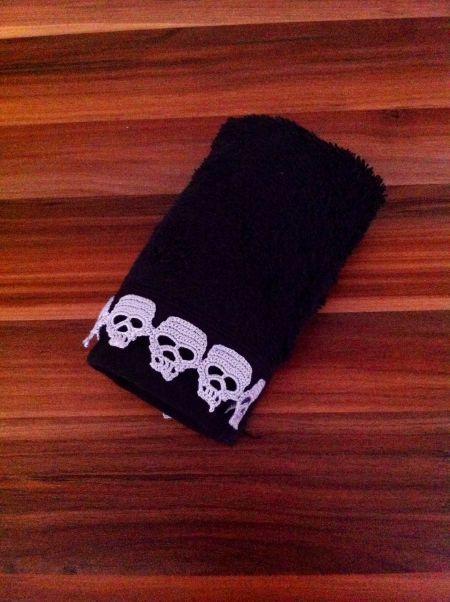 Kurukafa Dantelli Havlu #kurukafa #skull #handmade #havlu #towel #black #home #decor